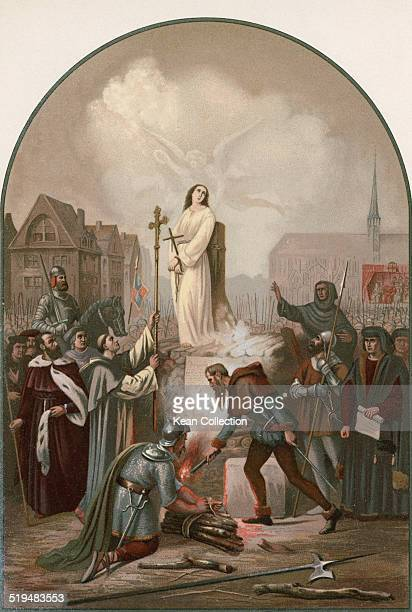 Roman Catholic saint Joan of Arc is burnt at the stake in the VieuxMarché Rouen France 30th May 1431