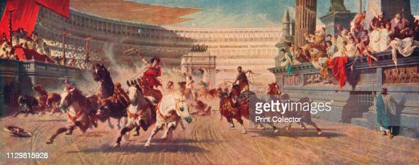 Roman Chariot Race', circa 1882. 19th century depiction of entertainment in Ancient Rome. 'The Chariot Race', painting in the Manchester Art Gallery....