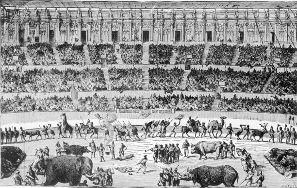 A Roman circus, circa 100 AD. Engraving by Huyot from...