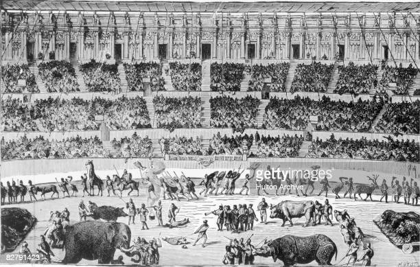A Roman circus circa 100 AD Engraving by Huyot from Pougin's 'Dictionnaire du Theatre'