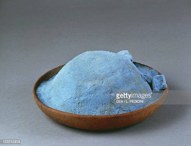 Roman civilization 1st century AD Clay bowl containing blue powder used for frescos From Pompei