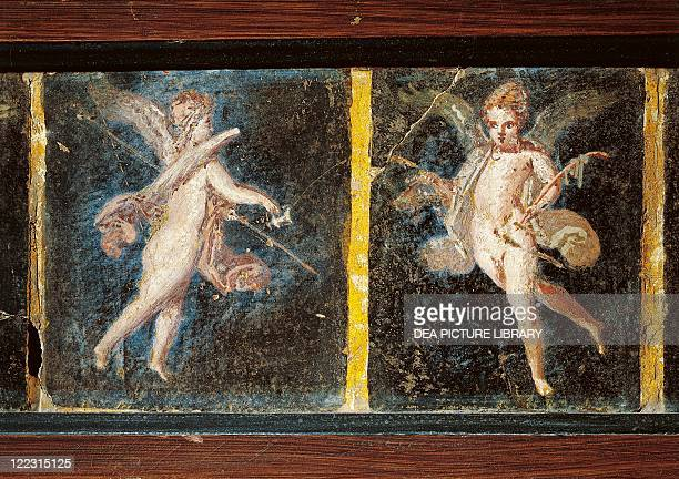 Roman civilization 1st century AD Detail of wall panting on plaster depicting cupids 19x117 cm From Herculaneum Detail cupids holding a kantharos and...