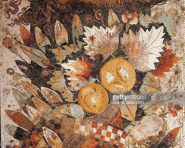 Roman civilization 1st century AD Floor mosaic with an arrangement of leaves and fruit from Pompeii