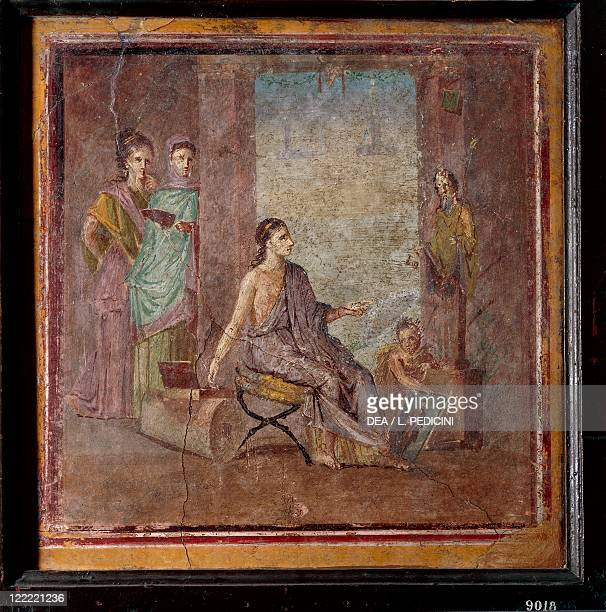 Roman civilization 1st century AD Fourth style fresco depicting a woman painter From Pompei