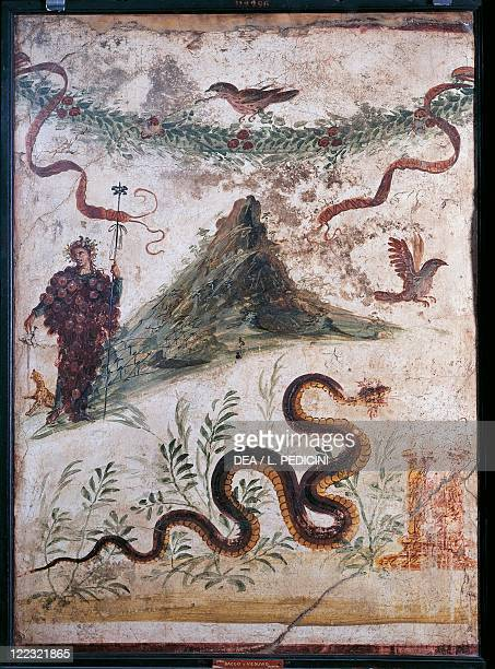 Roman civilization 1st century AD Fourth style fresco depicting Bacchus and Vesuvius volcano From the House of the Centenary at Pompei