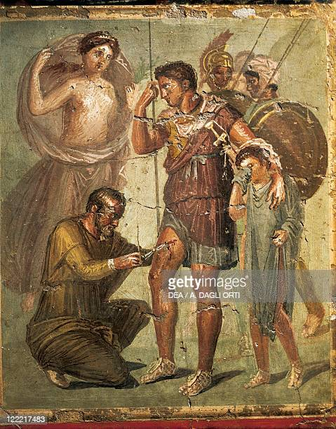 Roman civilization 1st century AD Fresco depicting a wounded Aeneas From Herculaneum