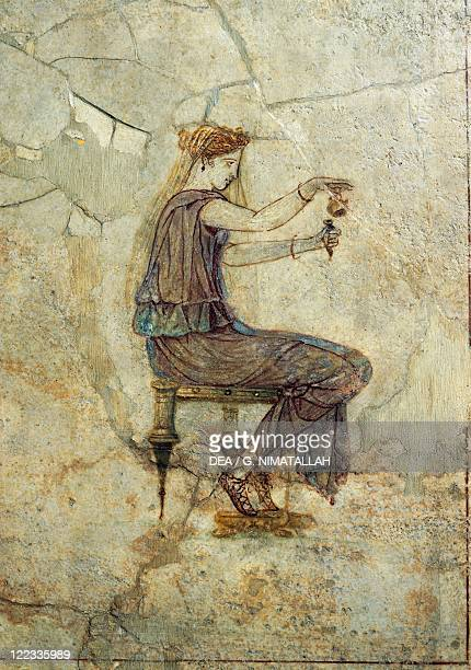 Roman civilization 1st century AD Fresco portraying a girl pouring perfume From Pompeii