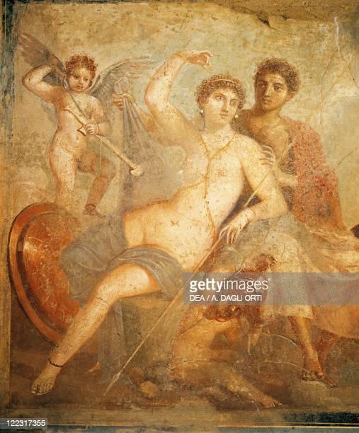 Roman civilization 1st century AD Fresco portraying Ares and Aphrodite From Casa di Marte e Venere Pompeii