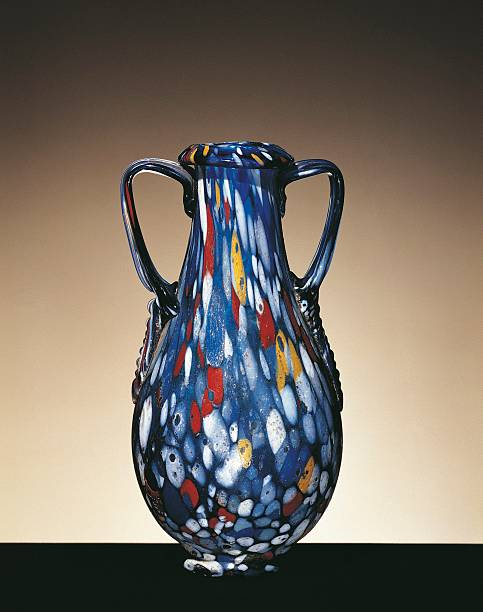 Roman Two Handled Vase Of Blue Blown Glass Decorated With White