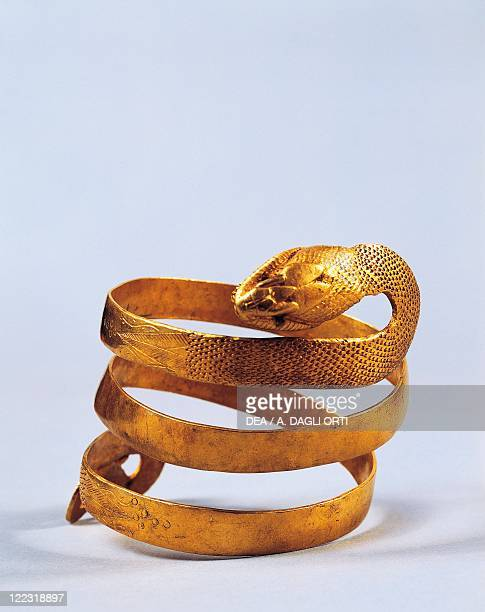 Roman civilization 1st century AD Goldsmithery Golden bracelet in shape of a snake From Pompei Italy