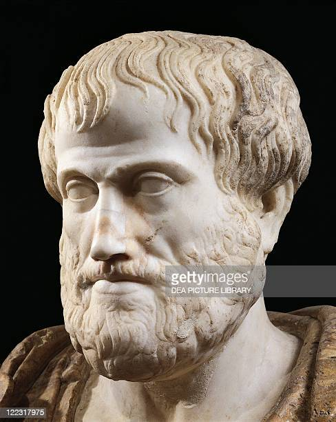 Roman civilization 1st century AD Marble head of Aristotle Copy of a Greek bronze original by Lysippus 4th century bC Detail face