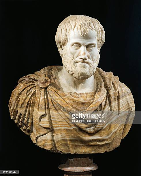 Roman civilization 1st century AD Marble head of Aristotle Copy of a Greek bronze original by Lysippus 4th century bC