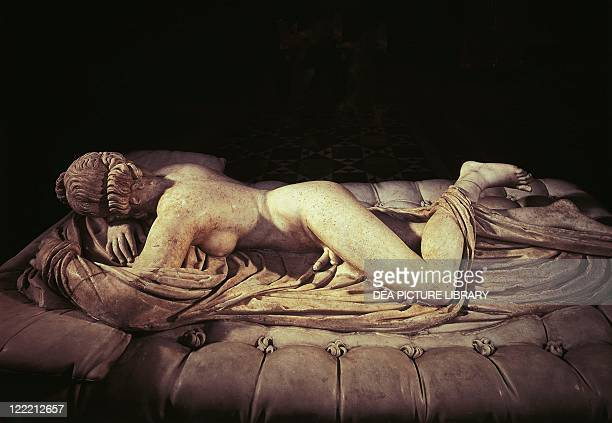 Roman civilization 1st century AD Marble statue depicting a sleeping Hermaphroditus Roman copy of a Greek original of the 2nd century bC