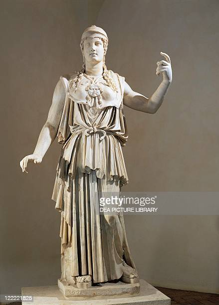 Roman civilization 1st century AD Marble statue of Athena Parthenos Copy of a Greek chryselephantine original by Phidias 3rd century bC