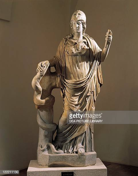 Roman civilization 1st century AD Marble statue of Athena with the snake Restored by Alessandro Algardi