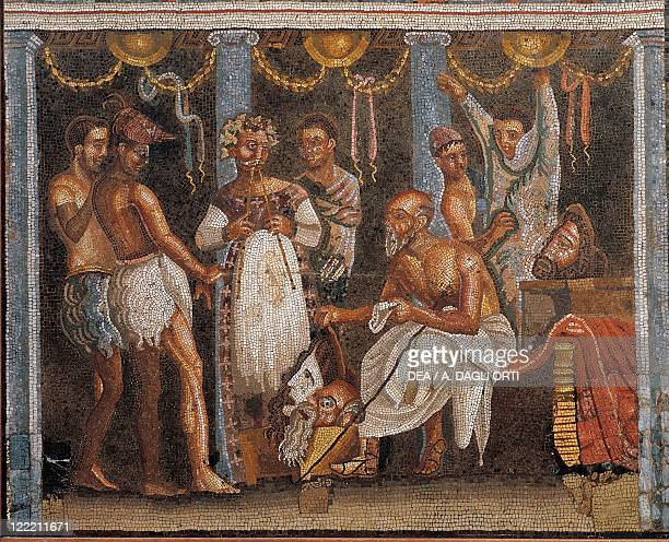 Roman civilization 1st century AD Mosaic depicting the staging of a show in a theatre From the House of the Tragic Poet in Pompeii