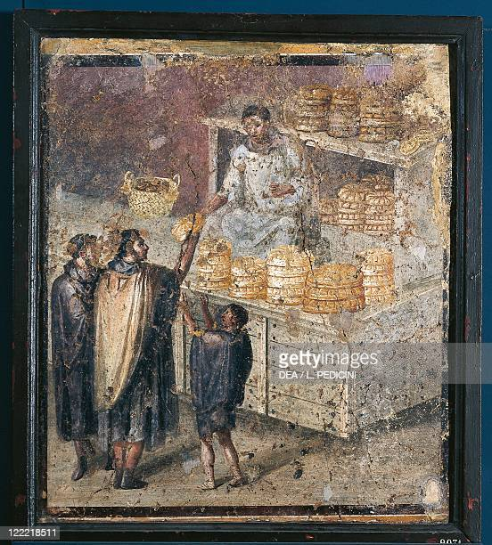 Roman civilization - 1st century A.D. - Pompei - Tablinum - Fresco with the distribution of bread .