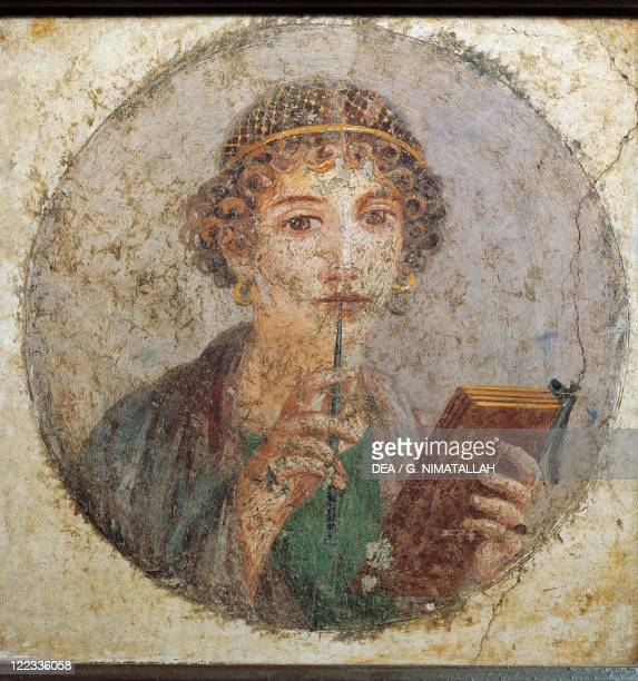 Roman civilization 1st century AD Portrait of a woman known as Sappho 5579 AD Painting on plaster 31x31 cm From Pompeii