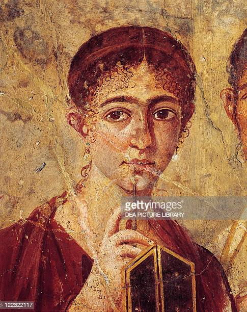 Roman civilization 1st century AD Portrait of baker Terentius Neo and his wife in formal clothes 5579 AD painting on plaster 65x58 cm From Pompei...