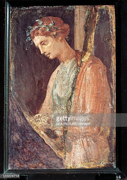 Roman civilization 1st century AD Profile portrait of a young woman 5579 AD painting on plaster 56x385 cm From Pompei