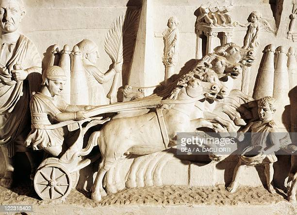 Roman civilization 1st century AD Relief depicting a quadriga Detail