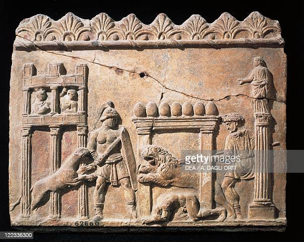 Roman civilization 1st century AD Relief portraying a gladiators and lions' fight in the circus
