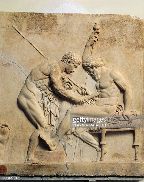 Roman civilization 1st century AD Relief portraying Telephus undergoing surgery From Herculaneum