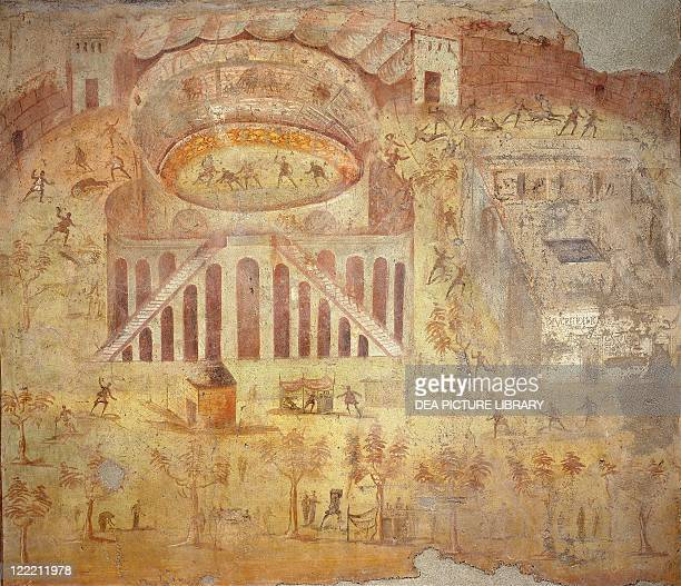 Roman civilization 1st century AD Riot at the amphitheater 5579 dC painting on plaster 170x185 cm From Pompei
