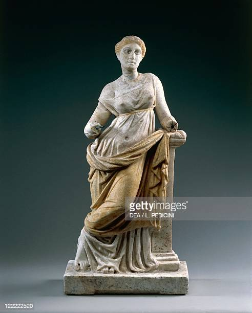 Roman civilization 1st century AD Statue of Venus from a Hellenistic model influenced by Praxiteles style Marble with traces of polychromy h 60 cm...