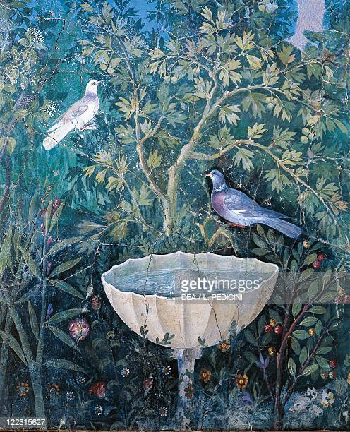 Roman civilization 1st century AD Wall decorated with Third style fresco depicting garden and birds From Pompei Detail a fountain