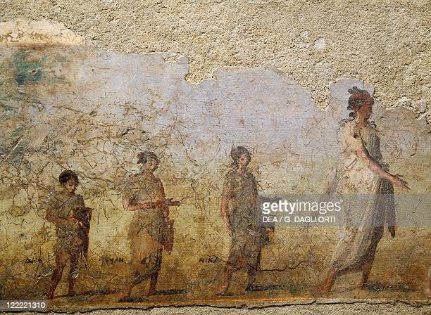 Roman civilization 1st century bC Funerary fresco of doctor Patron From Porta Capena at Rome Detail procession of his wife and children