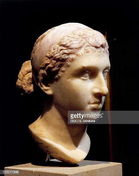 Roman civilization 1st century bC Marble head of Cleopatra VII