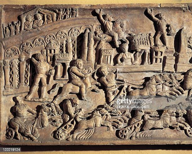 Roman civilization 1st century bC Relief portraying the Circus Maximus during the games Detail
