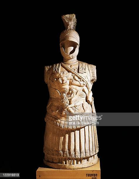 Roman civilization 1st century bC Statue of Trophy of arms with the parade armour of a Roman officer From Rhodes Greece