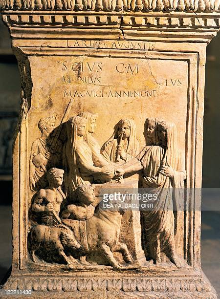Roman civilization 1st century bC1st century AD Altar of the Vicomagistri four magistrates responsible for the streets of the Viculus Aesculetus...