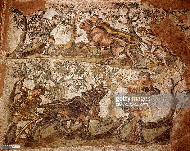 Roman civilization 1st2nd century AD Algeria Mosaic with rural scenes From Caesarea