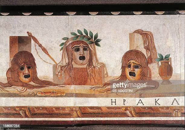 Roman civilization 2nd century AD Asarotos oikos mosaic depicting tragic theatre masks Roman copy of Hellenistic original by Sosos of Pergamon In the...