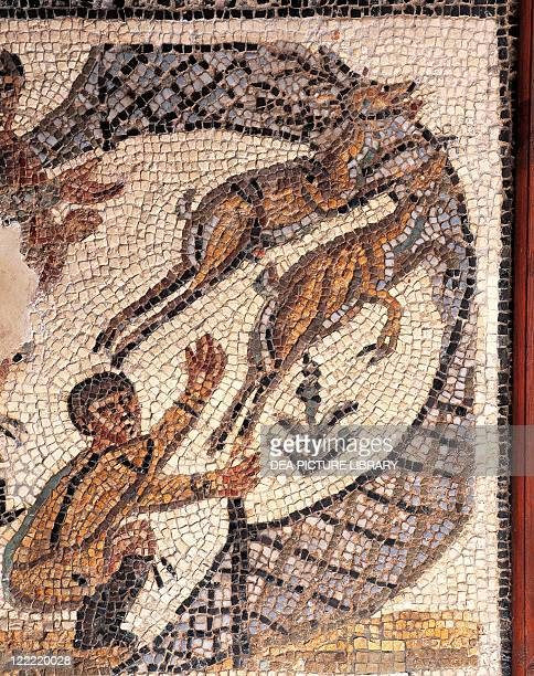 Roman civilization 2nd century AD Detail of mosaic depicting deer hunting using nets From Utica House of the Hunt Tunisia