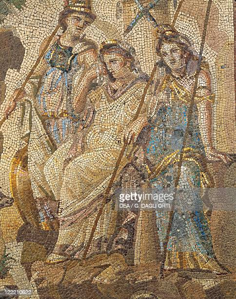Roman civilization 2nd century AD Judgment of Paris Mosaic from Antakya Detail Hera Athena and Aphrodite