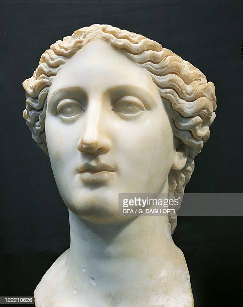 Roman civilization, 2nd century A.D. Marble head of Juno. From Banasa .
