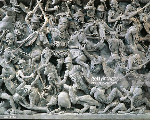 Roman civilization 2nd century AD Marble sarcophagus with relief depicting a scene of a battle between Romans and Germans 180190 AD From Rome Via...