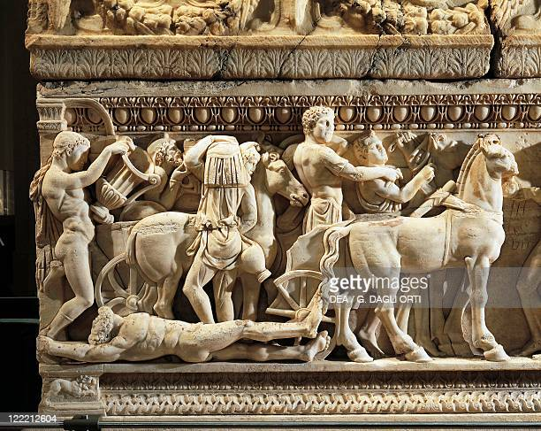 Roman civilization 2nd century AD Marble sarcophagus with relief depicting the legend of Achilles From Tyre Lebanon Detail the body of Hector tied to...
