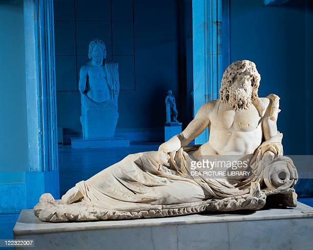 Roman civilization 2nd century AD Marble statue of Oceanus From the Gymnasium of Vedius Ephesus Turkey