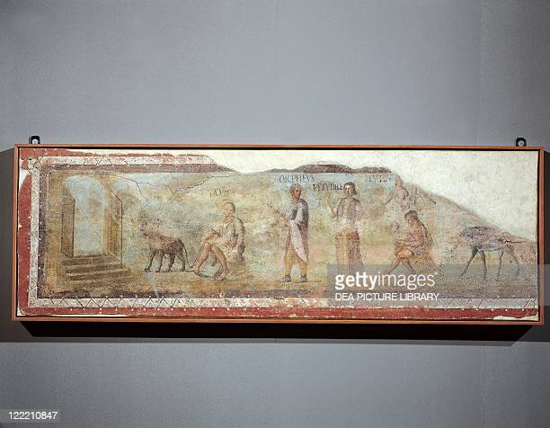 Roman civilization 2nd century AD Scene with Orpheus and Eurydice 50x154 cm Fresco from Ostia columbarium of Caecilii Italy In Museo Gregoriano...