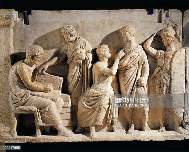 Roman civilization 2nd century bC Marble relief known as Domitius Ahenobarbus relief From Rome Campo Marzio Temple of Neptune Detail military census