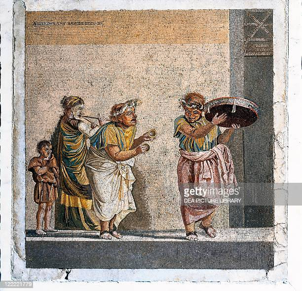 Roman civilization 2nd century bC Mosaic depicting a scene from a comedy by Menander The Possessed Girl itinerant musicians 43x41 cm From Pompei...