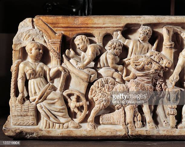 Roman civilization 3rd century AD Front side of a sarcophagus Mother watching her children play Detail