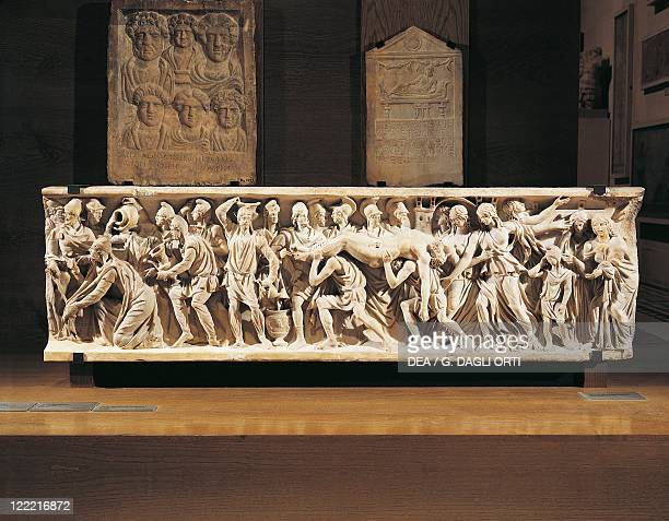 Roman civilization 3rd century AD Front side of a sarcophagus Priamus ransoming Hector's body