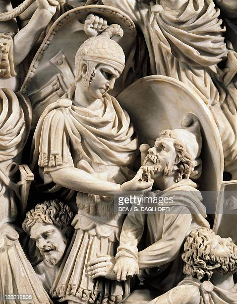 Roman civilization 3rd century AD Grande Ludovisi sarcophagus front marble relief depicting a battle between Romans and Ostrogoths 260 circa Detail...