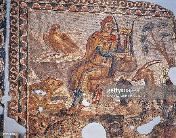 Roman civilization 3rd century AD Mosaic depicting Orpheus charming the wild beasts playing the lyre From Tarsus Turkey